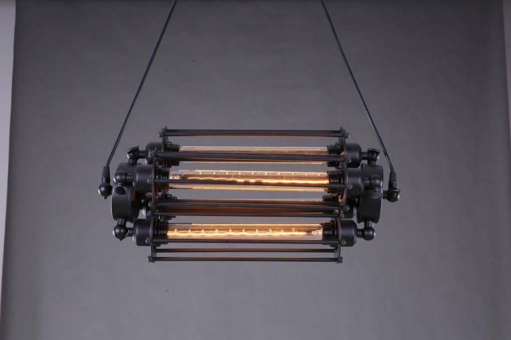 Industriële hanglamp in zwart voor 4 lange lampen 50cm breed