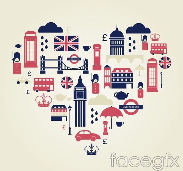 Heart-shaped London elements vector