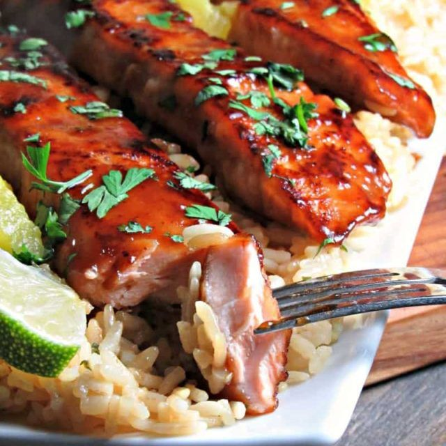 Honey Teriyaki Glazed Salmon ~ pan seared, flaky salmon ~ A Gouda Life
