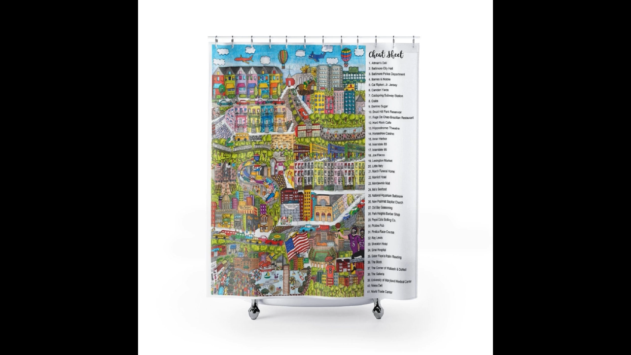 Baltimore My Hometown Shower Curtains Coffee Mugs And Wall Prints