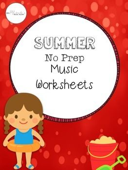 No prep music worksheets for summer activities!