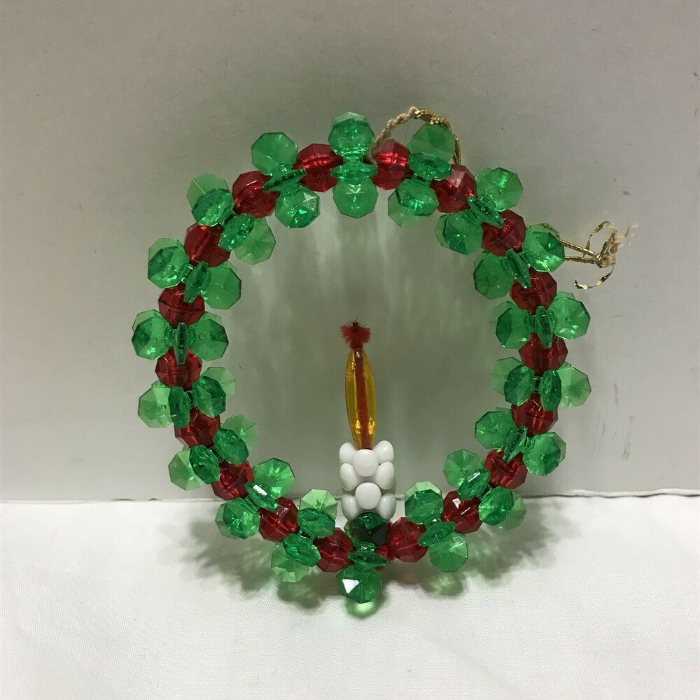 Vintage Beaded Wreath Ornament With Candle Green And Red 3 1 2 Tall Handmade How To Make Ornaments Green Candle