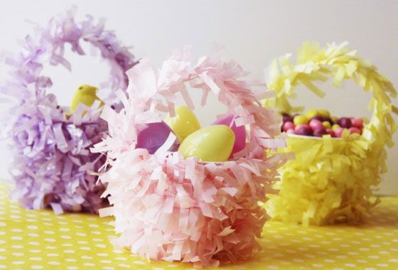 Easy Easter Crafts for Kids   Turn Plastic Cups and Fringed Garlands into Cute Baskets