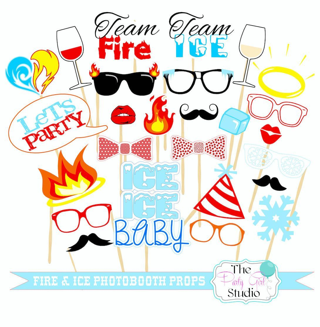 26pc Fire And Ice Photo Booth Props Digitl File Fire And Ice