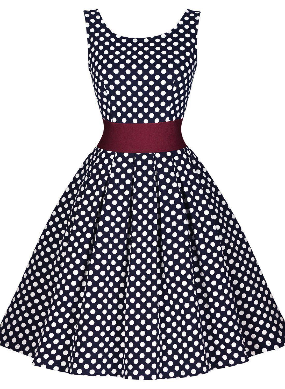 Miusol® Damen Elegant Rundhals Trägerkleid 1950er Retro Polka Dots ...