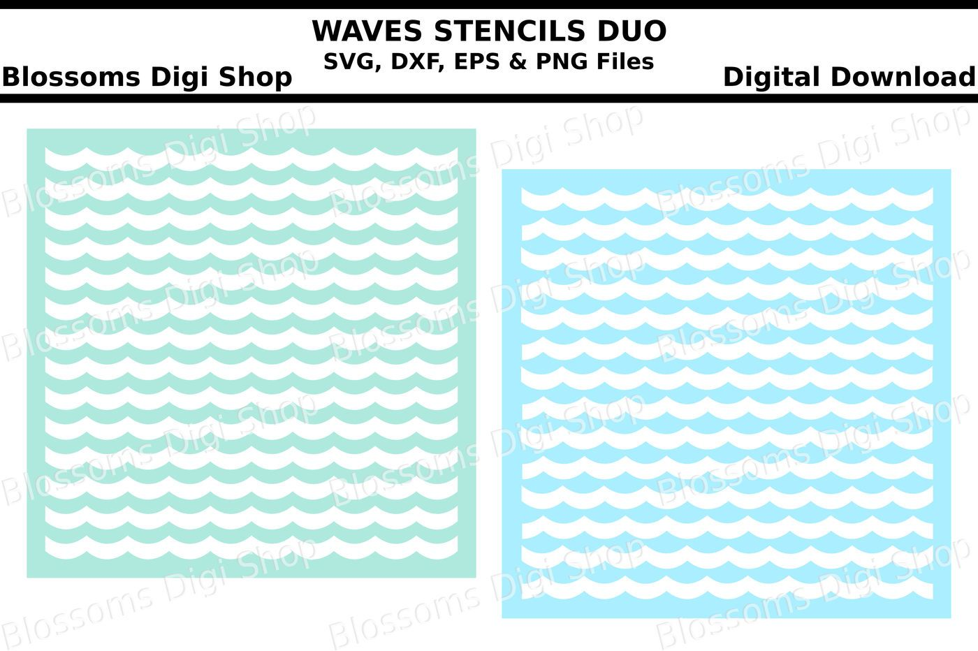 Waves stencil duo SVG, DXF, EPS and PNG cut files By