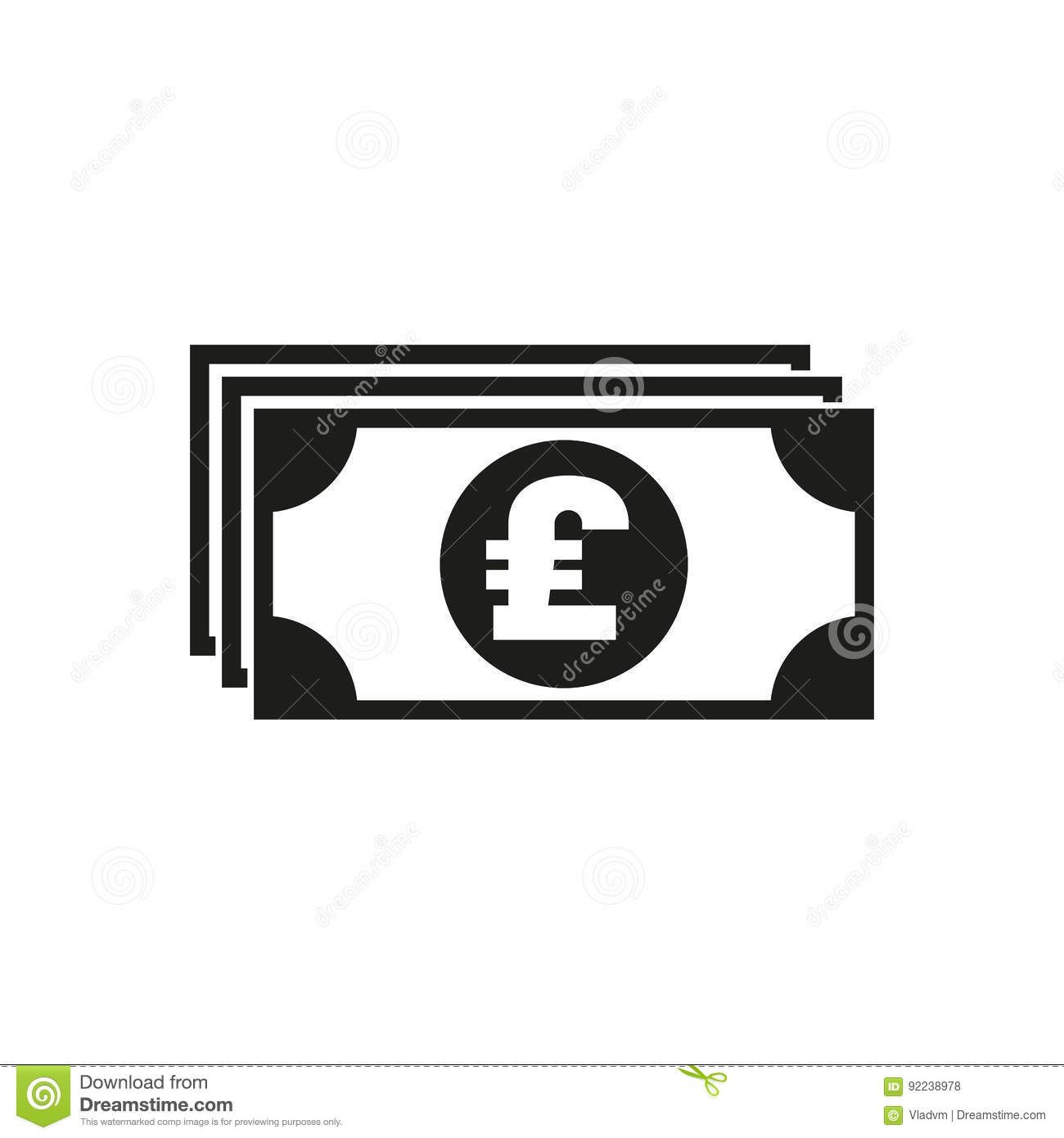 Money Icon Pound Sterling Cash Coin Currency Bank Symbol Flat Design