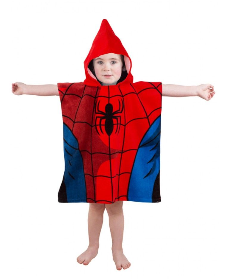 Spiderman Blue Costume Beach Bath Poncho
