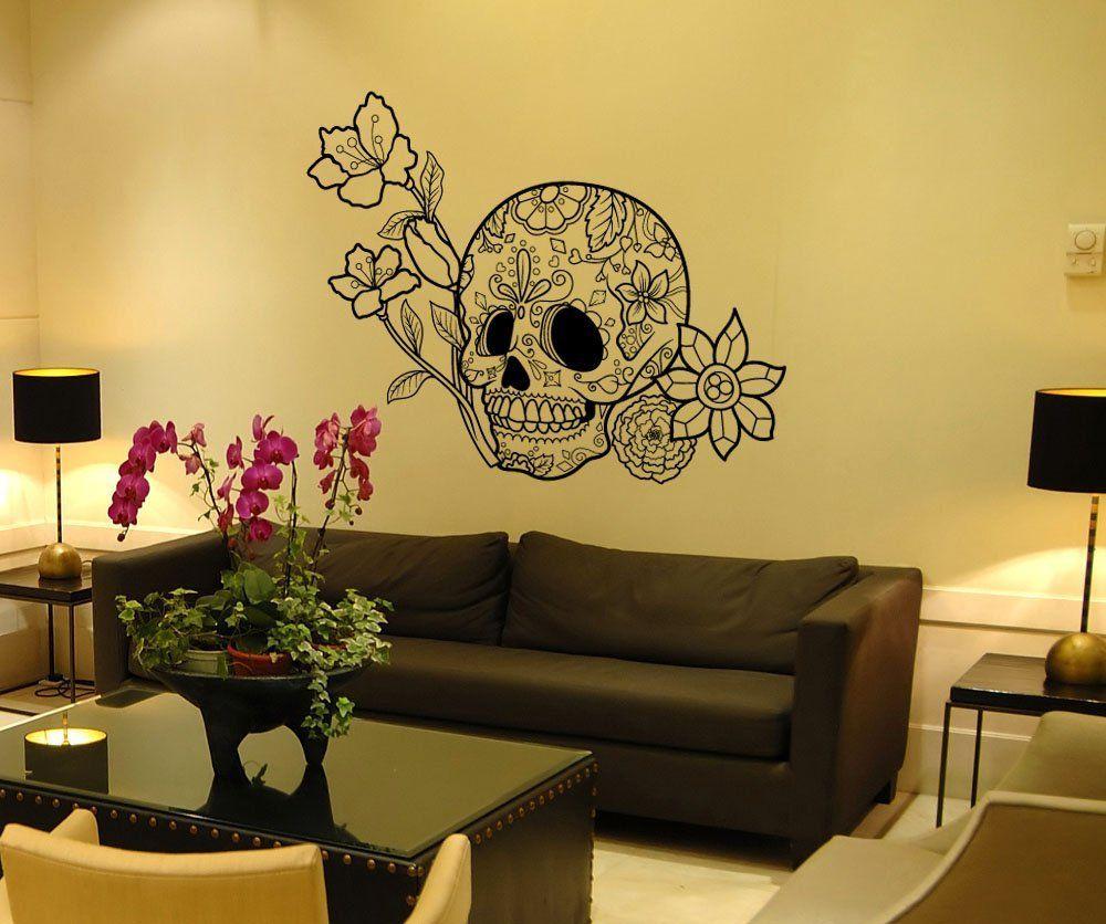 Stickerbrand Vinyl Wall Art Decal Sticker Flowers and Sugar Skull ...