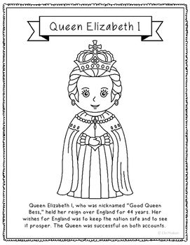 Queen Elizabeth I Coloring Page Craft Or Poster With Mini Biography England