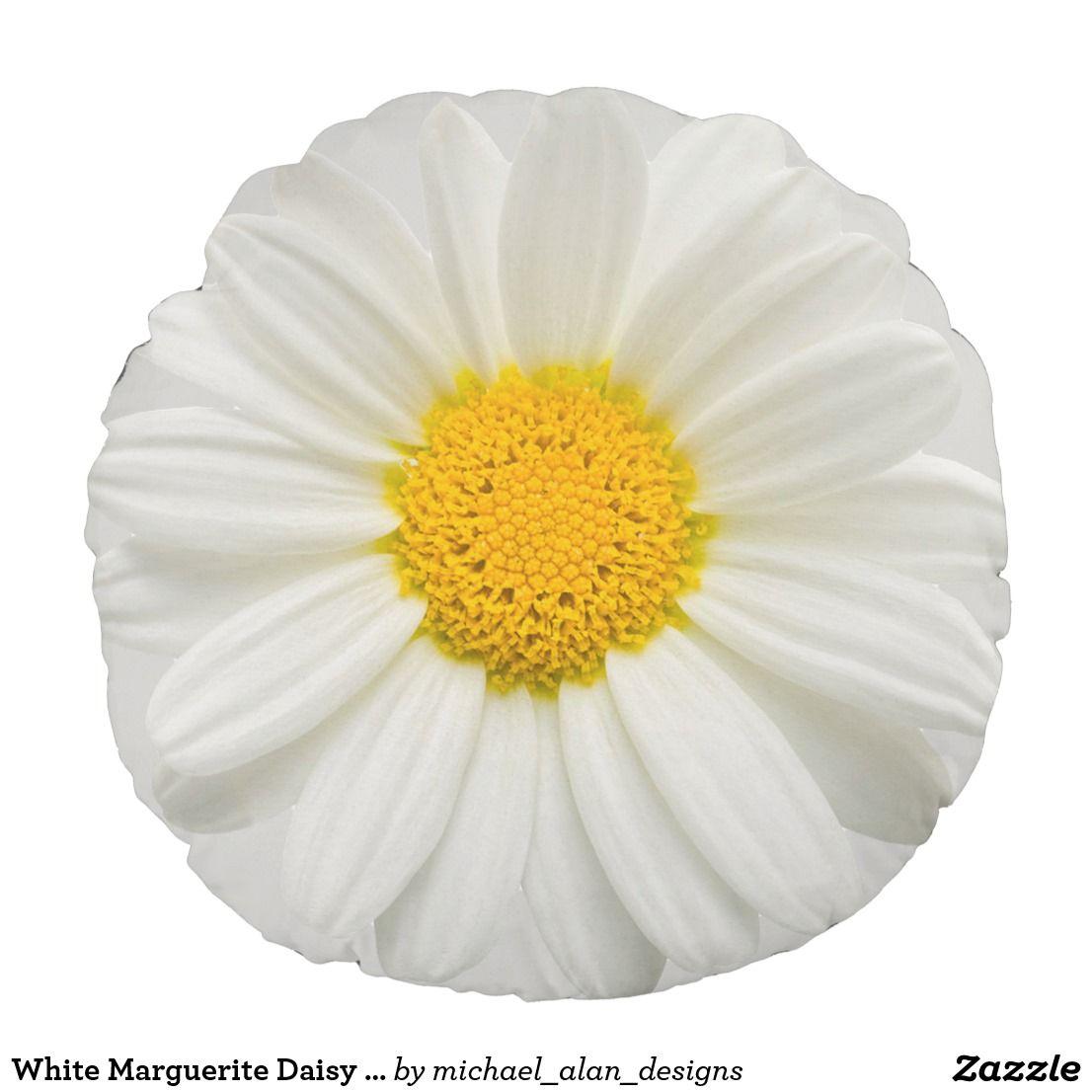 White Marguerite Daisy Chrysanthemum Round Pillow Flower Pillows