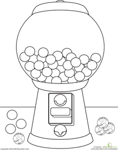 Color The Gumball Machine Worksheet Education Com Gumball Machine Bubble Gum Machine Gumball