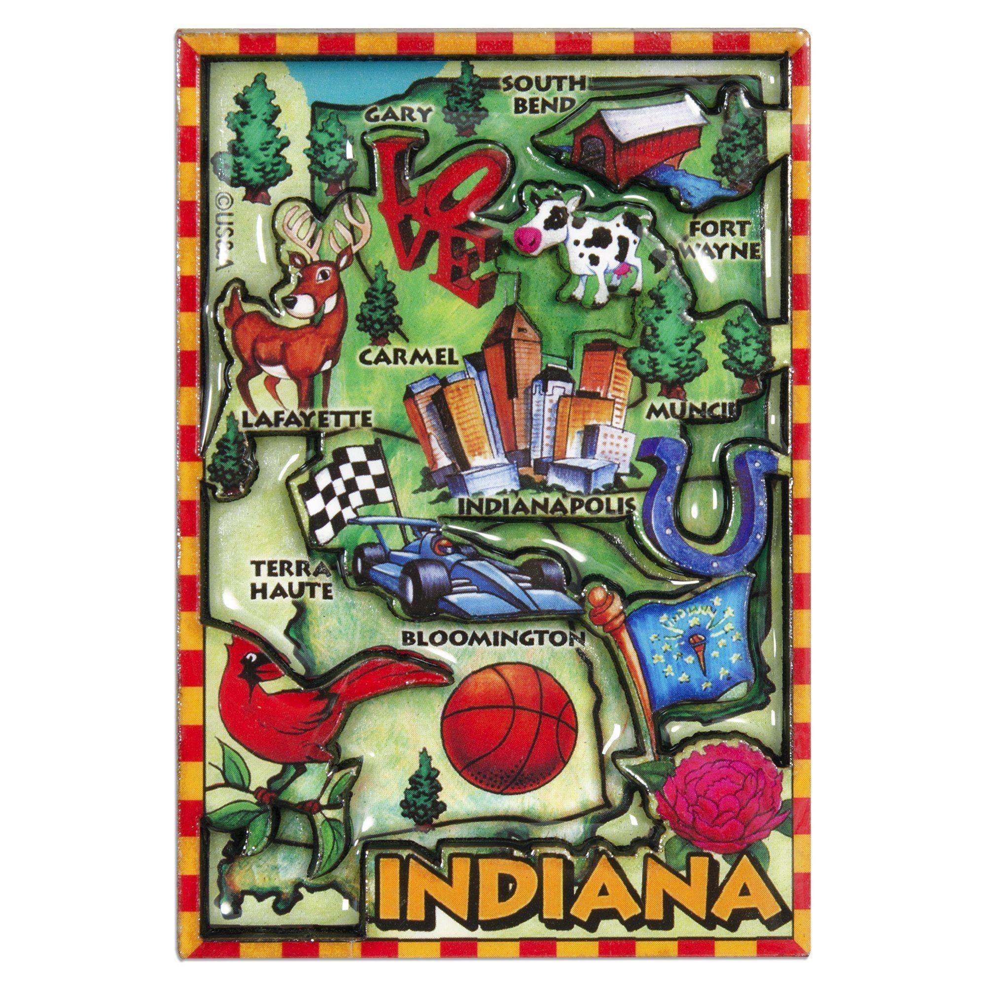 MGIN88 Dual Level Epoxy Magnet - Indiana Map | Pinterest