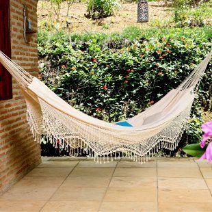 ramahlo textiles xl brazilian fabric hammock with fringe natural mediterranean hammocks  my house will have at least one hammock dying for a lanai where i can hang a hammock     soooooon very      rh   pinterest