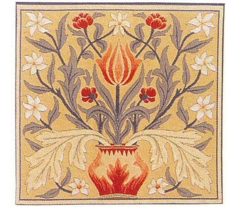 William Morris Tulip Flemish Tapestry Cushion With Feather