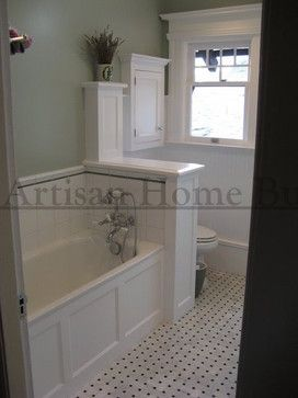 Traditional Home Half Wall Design Pictures Remodel Decor And - Bathroom remodel tub surround