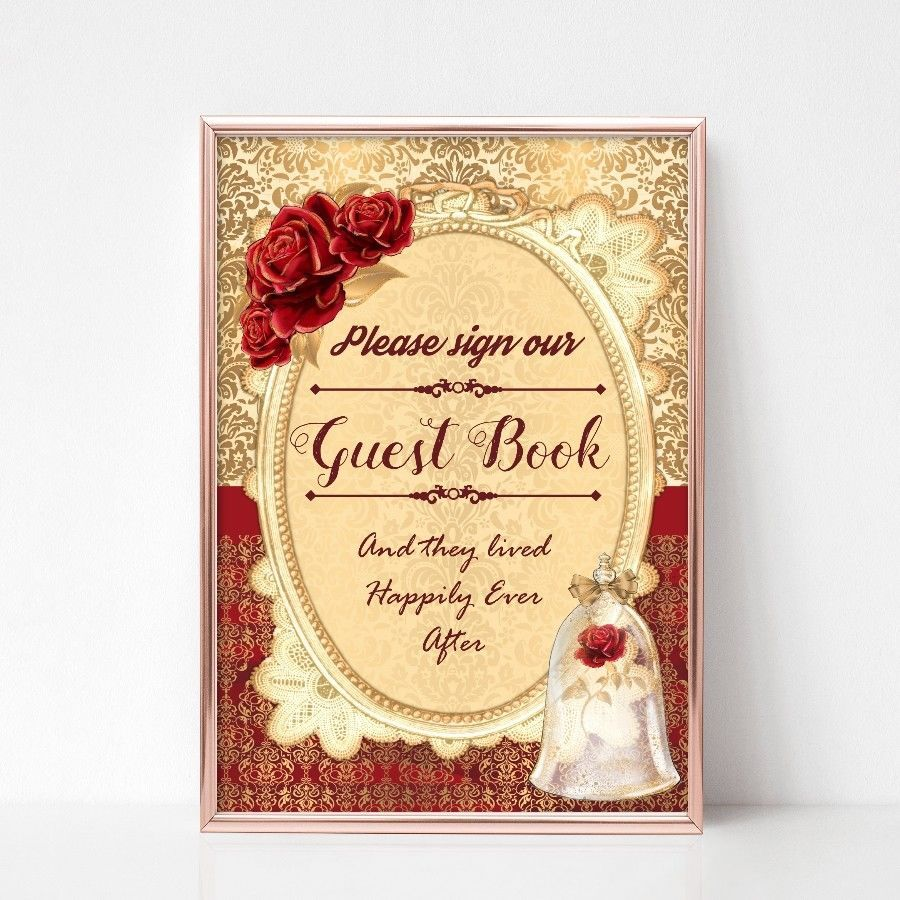 Beauty the beast guest book wedding sign red rose