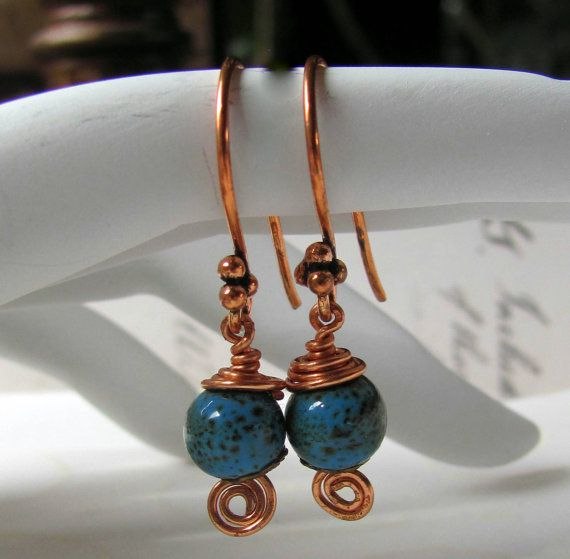 Dainty Robin Egg Blue Ceramic Copper Wrapped by RoEnchantedDesigns, $15.00