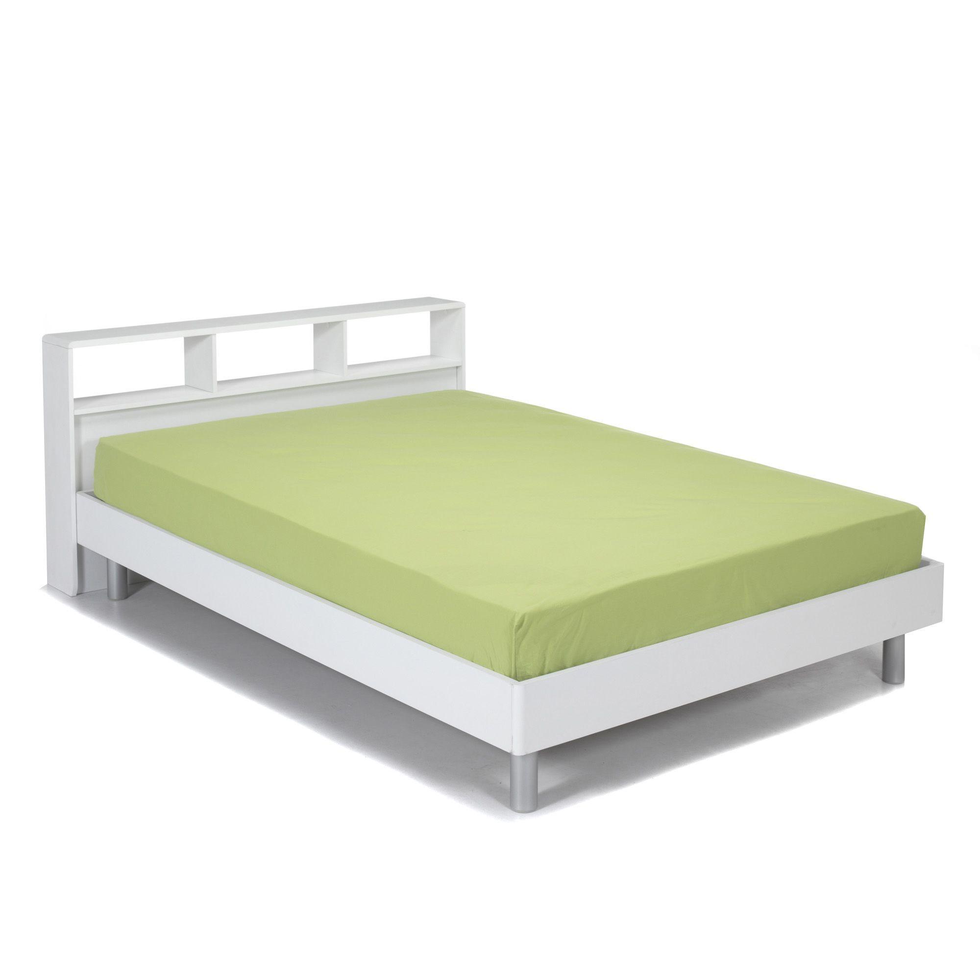lit blanc 140x200cm et tte de lit avec rangements blanc cool lits 2 places - Lit 2 Places Avec Rangement