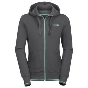 The North Face Logo Stretch Full Zip Hoodie - Women's - Sport Inspired - Clothing - Graphite Grey/Blue
