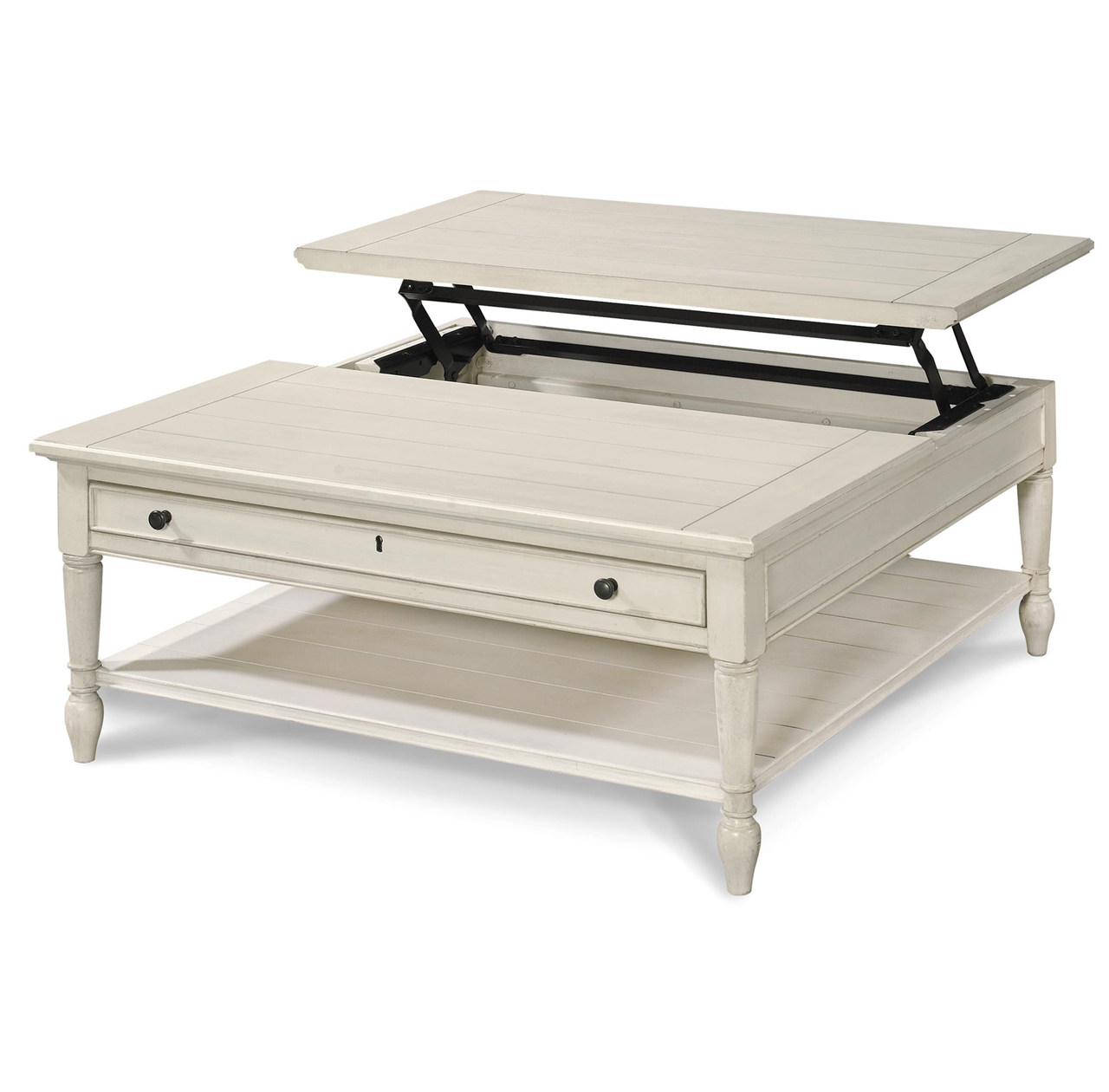 CountryChic White Wood Square Coffee Table with Lift Top