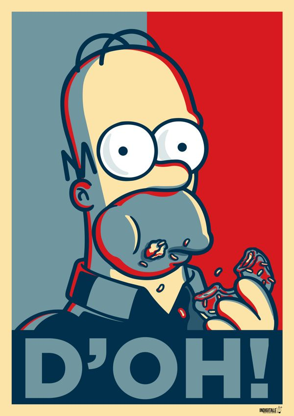 Homer simpson version obama hope poster by diego riselli