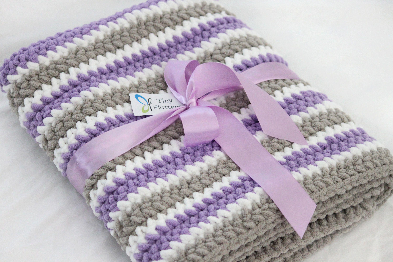 Crochet Purple Gray Baby Blanket Purple Grey Baby Blanket Gender Neutral Baby Blanket Soft Purple Baby Blanket Baby Blanket Crochet Crochet Blanket Girl