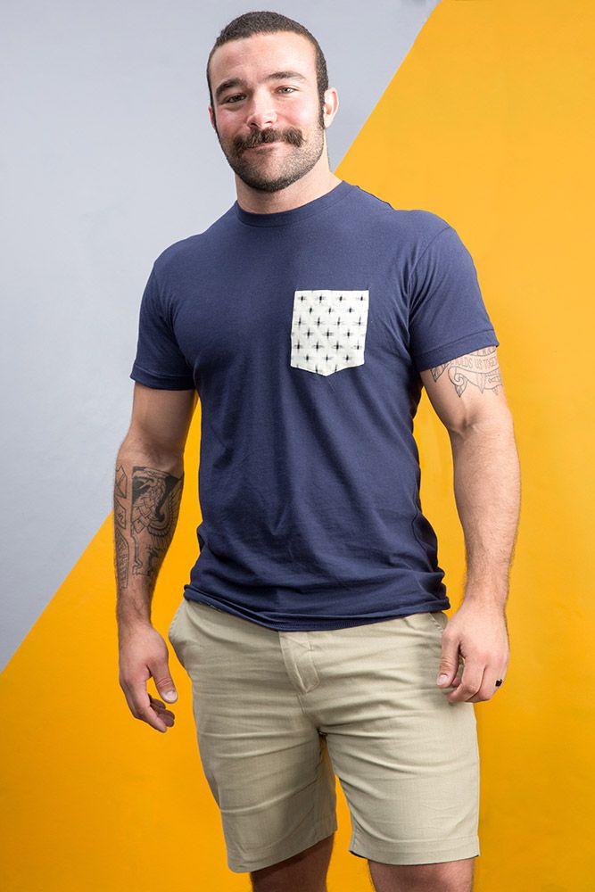 Blue Shirt for Men, Khaki Shorts