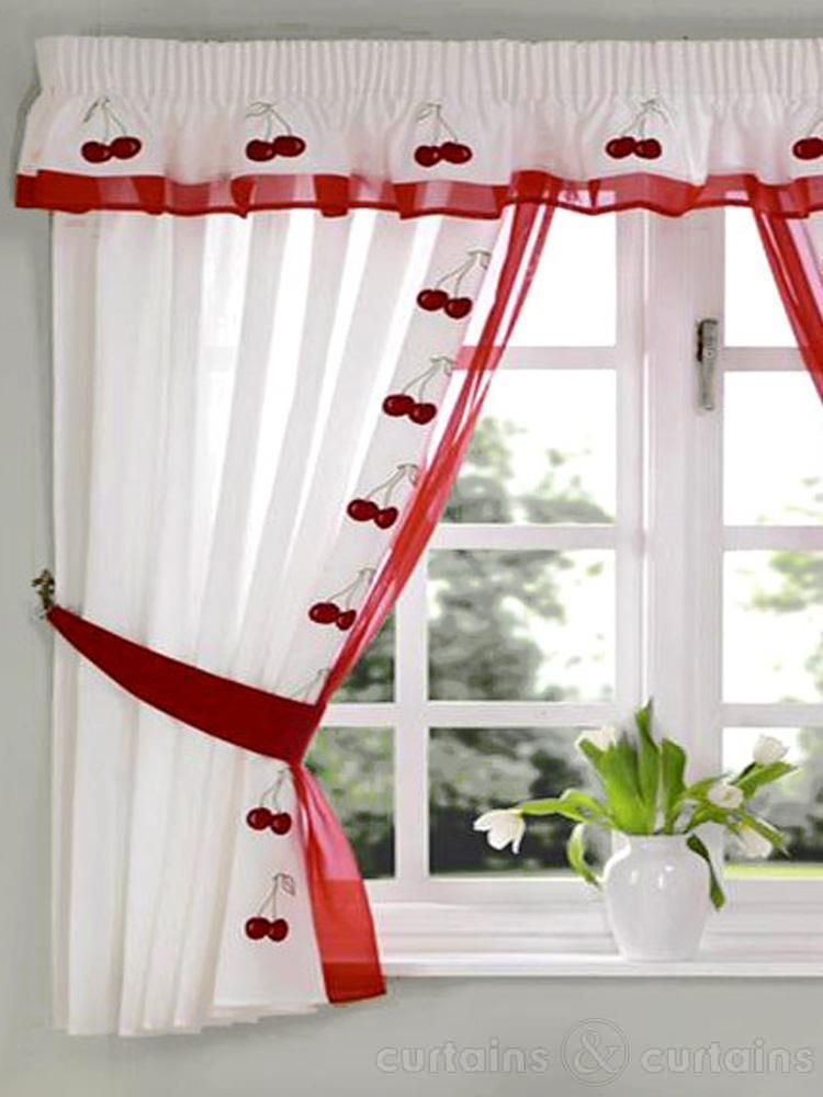 Red White Cherry Embroidered Kitchen Curtain And Curtains Pelmet