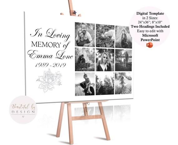 Memorial Photo Collage Template, Large Memorial Sign