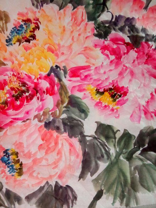 peony09272019-1 - sundongling watercolor  flower