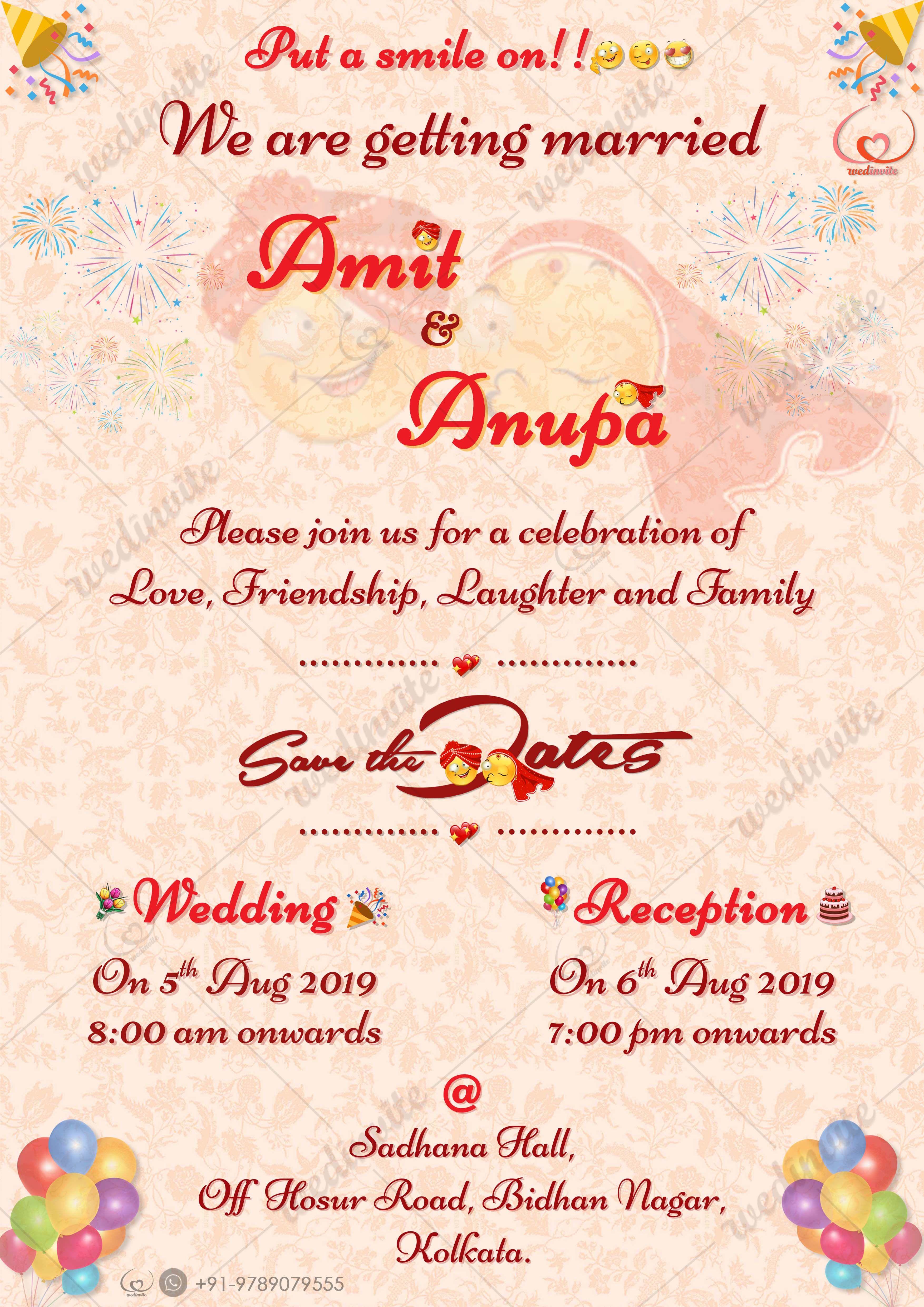 Smiley Invitation Card Wedding Card Wordings Indian Wedding Invitation Cards Digital Weddings