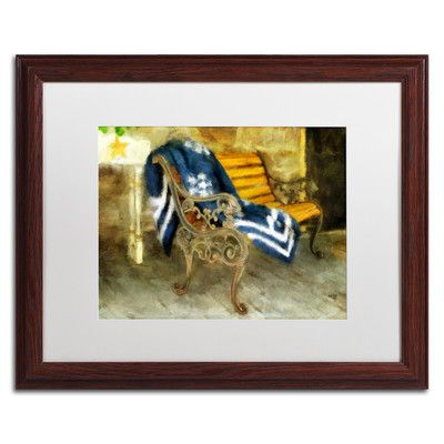 """Trademark Art 'The Blue Quilt on the Bench' by Lois Bryan Framed Painting Print Size: 16"""" H x 20"""" W x 0.5"""" D"""