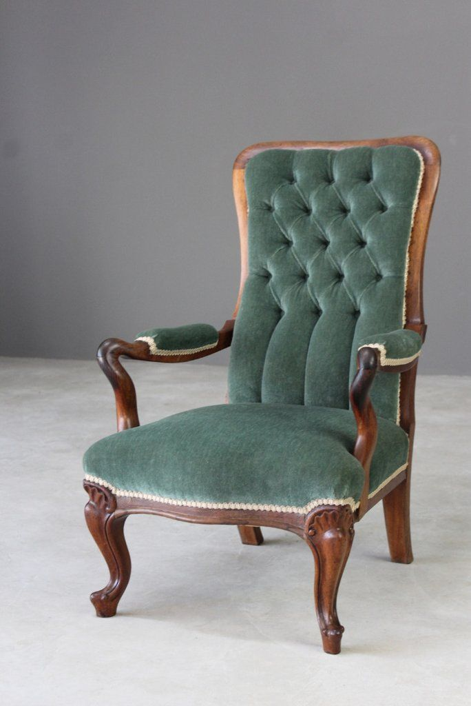 Antique Rosewood Upholstered Armchair | Upholstered arm ...