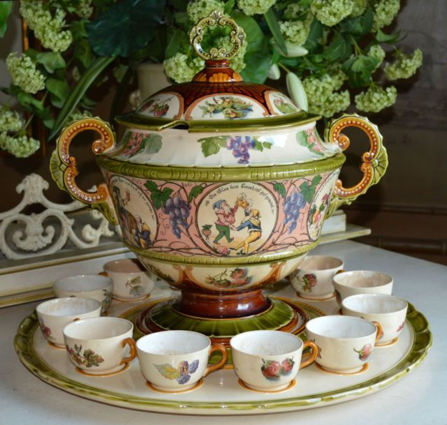 1906 mettlach villeroy and boch v b gnome punch bowl tureen cups set punch bowl sets. Black Bedroom Furniture Sets. Home Design Ideas