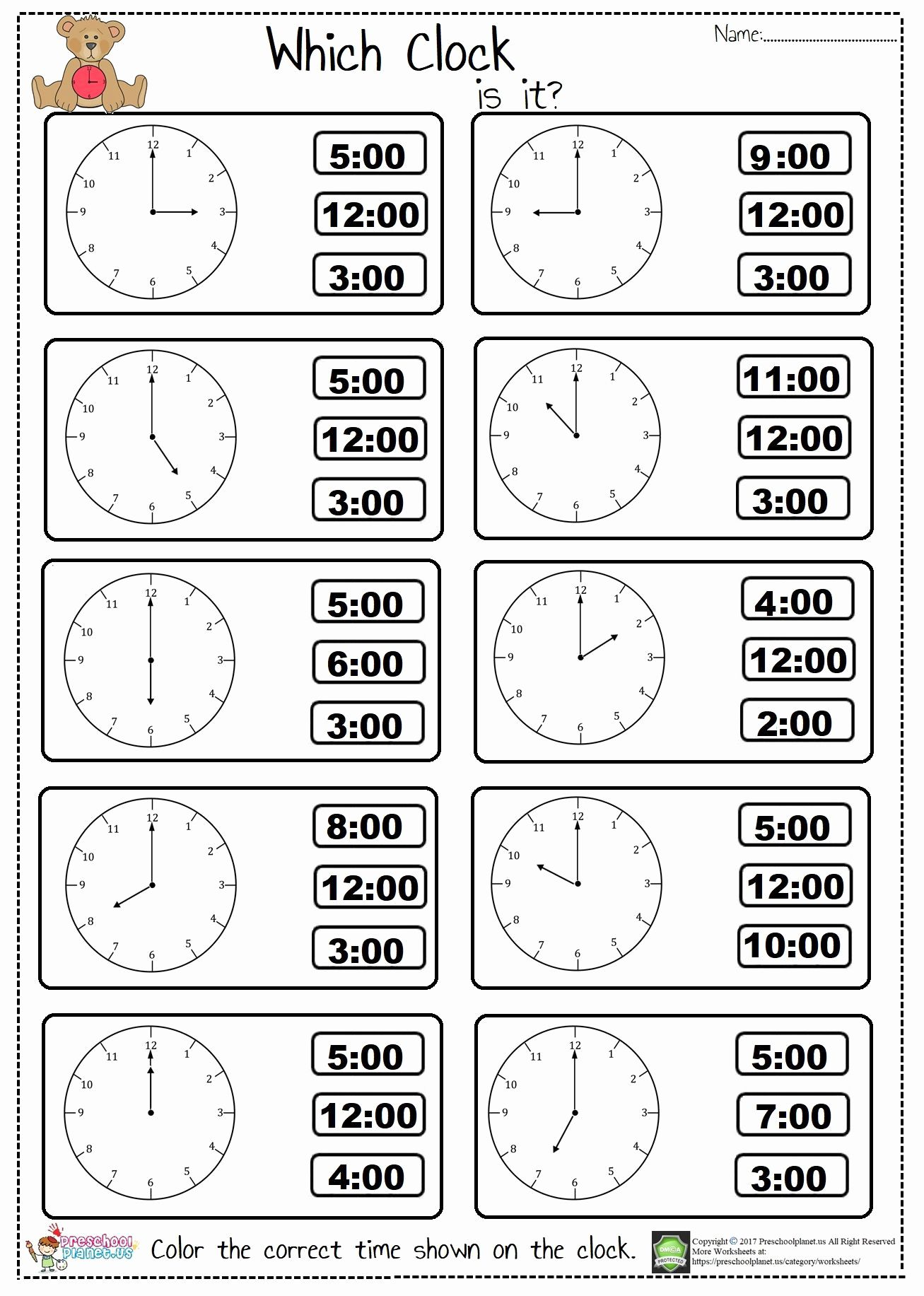 Preschool Clock Worksheet In