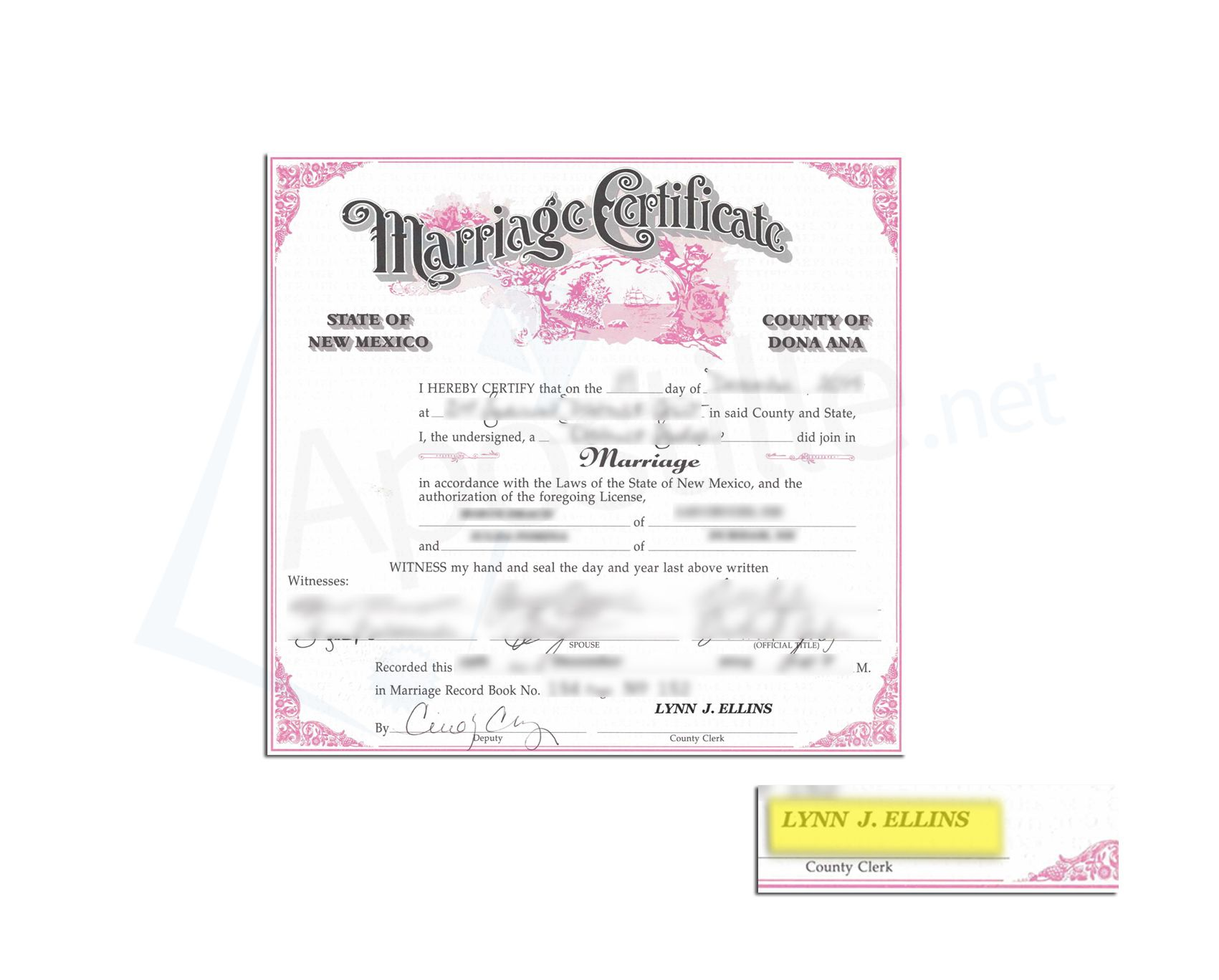 County Of Dona Ana State Of New Mexico Marriage Certificate Issued By Lynn  J Ellis County