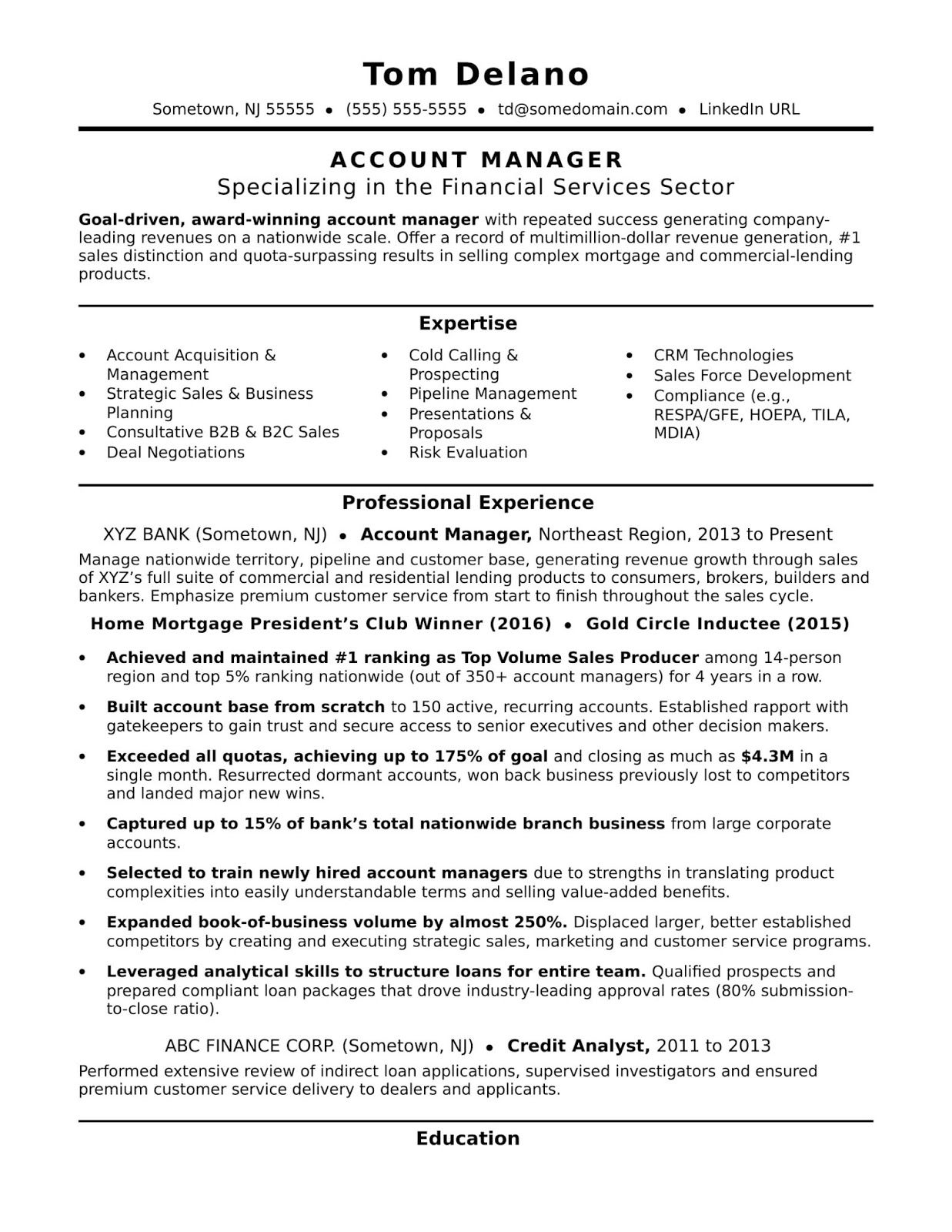 Account Executive Sample Resume Account Manager Sample Resume Account Executive Resume Examples Key Ac Accounting Manager Manager Resume Job Resume Template