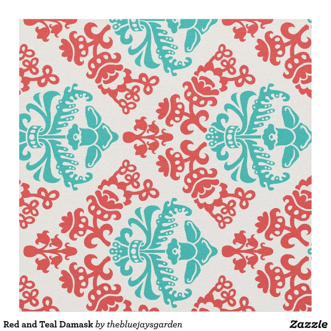 Red and Teal Damask Fabric images