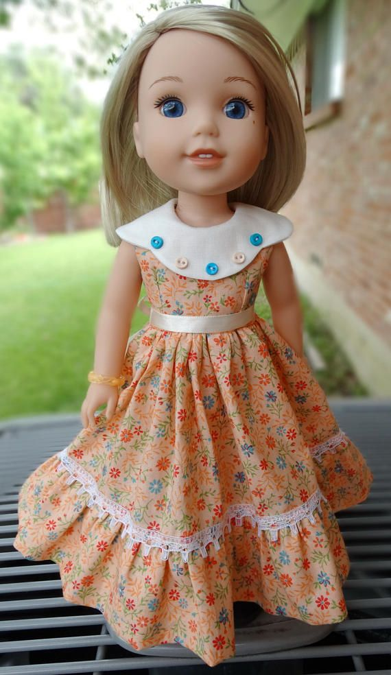 """14.5/"""" Doll Clothes-fit American Girl-Wellie Wishers-Party Dress-Blue Butterfly"""
