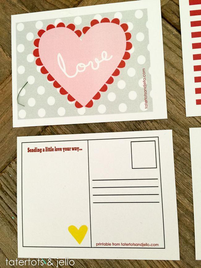 Adorable Valentine Postcards Free Printables Tatertots And Jello Valentine Postcards Valentines Printables Free Printable Postcards