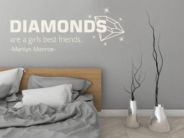 Wandtattoo Zitat Diamonds Wandtattoos für Schlafzimmer - wandtattoo fürs schlafzimmer