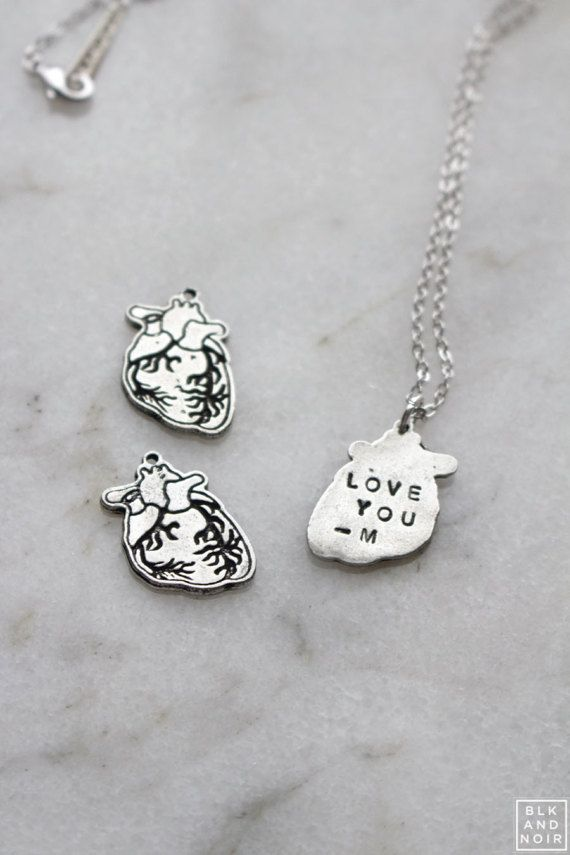 Human Heart Necklace With Engraving Anatomical Medical School ...