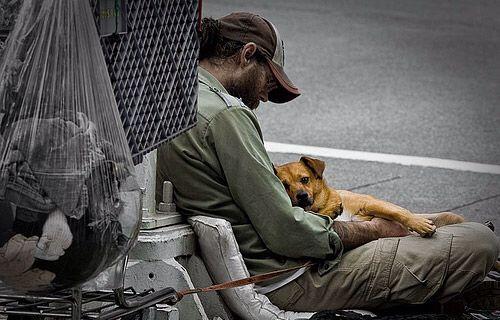 Homeless man and his dog