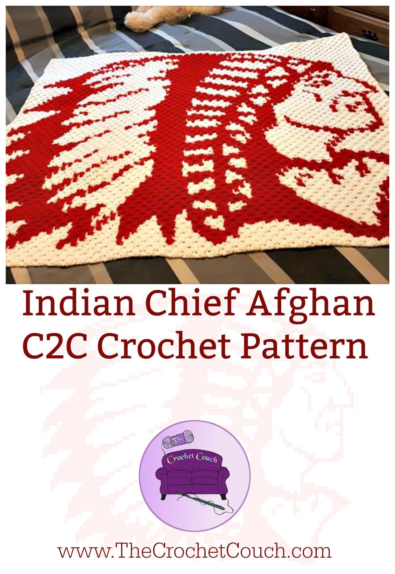 Indian Chief Afghan, 2 Color C2C Graph, Crochet Pattern | Crochet ...