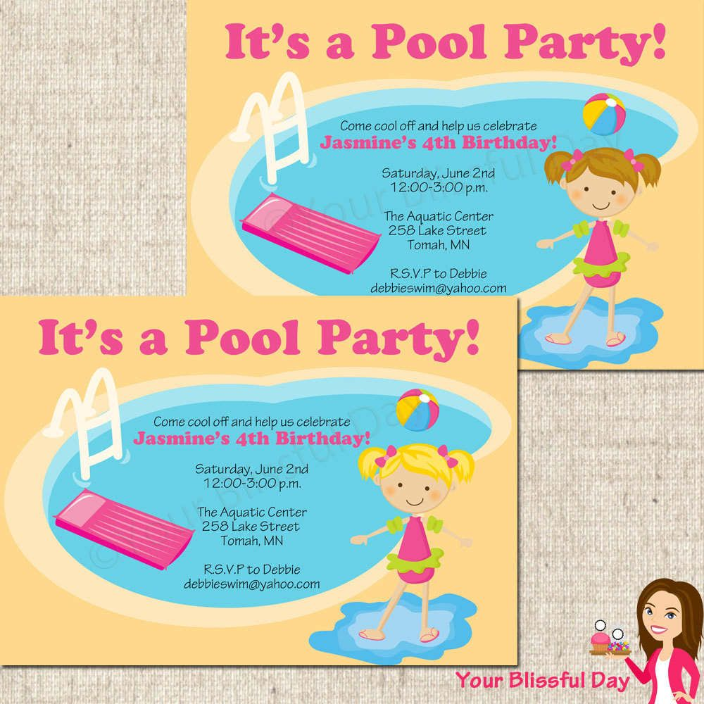 Free Printable Birthday Pool Party Invitations For Kids | Birthday ...