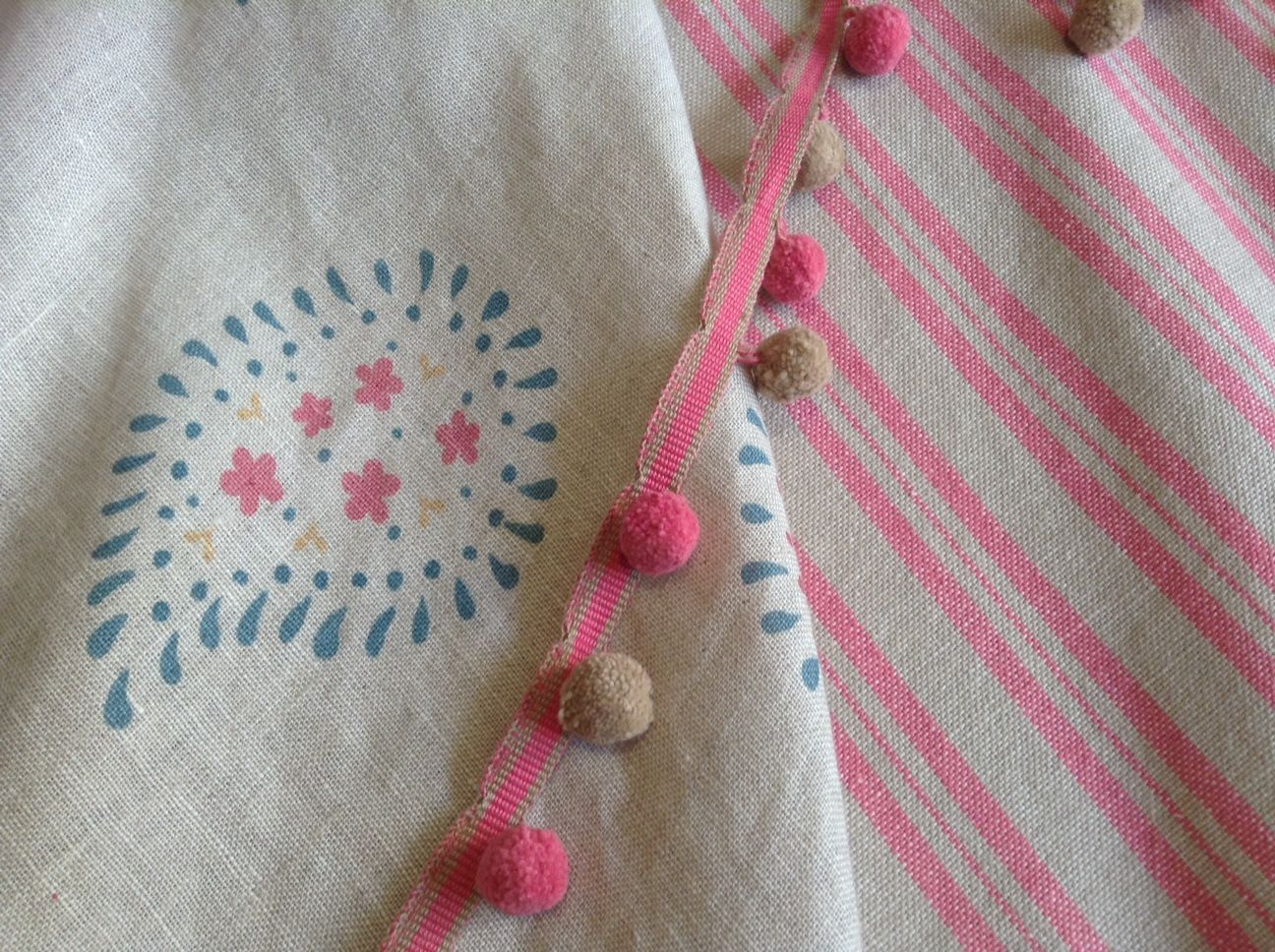 Design Clinic Blue And Pink Linen Curtains With Pom Pom
