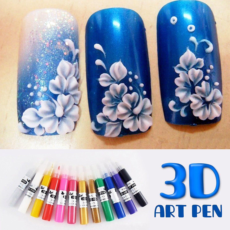 12 Colors 3D Acrylic Nail Polish Pen Solid Glitter Gel Nail Art ...