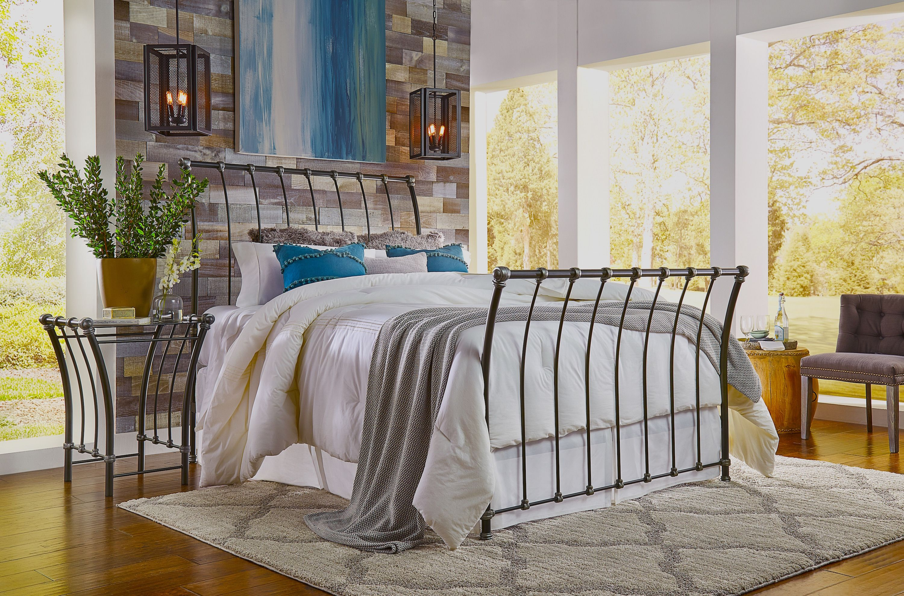 Wrought Iron Handcrafted Sleigh Bed And Matching Night Stand In 50 Finish Choices Brass Bed Wrought Iron Bedside Tables Sleigh Beds