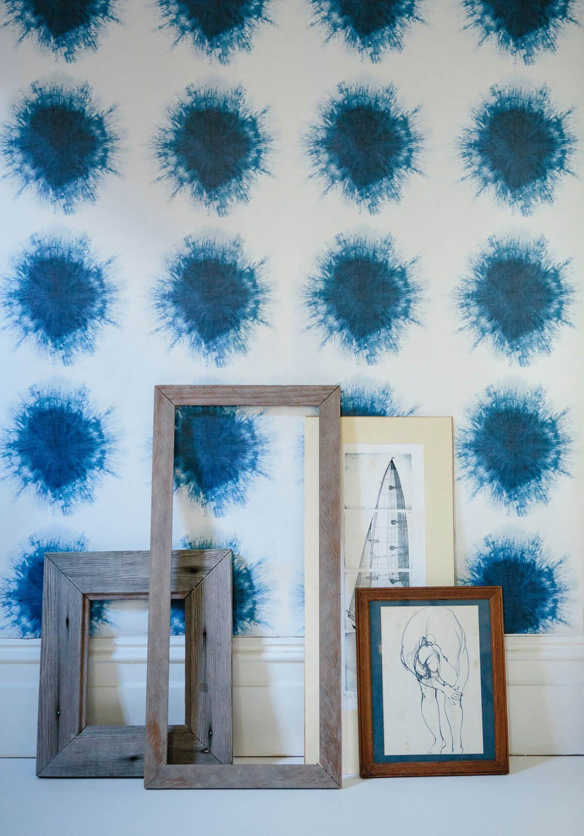 Shibori Suns Wallpaper in Indigo from the Shibori